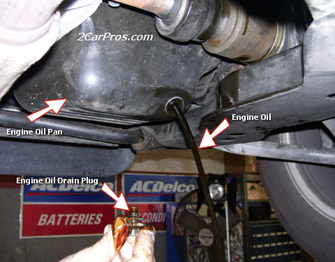Where is the engine oil drain plug located on a car?