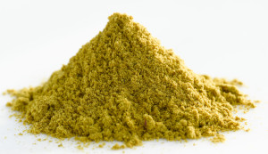 Heap of red curry powder, close-up